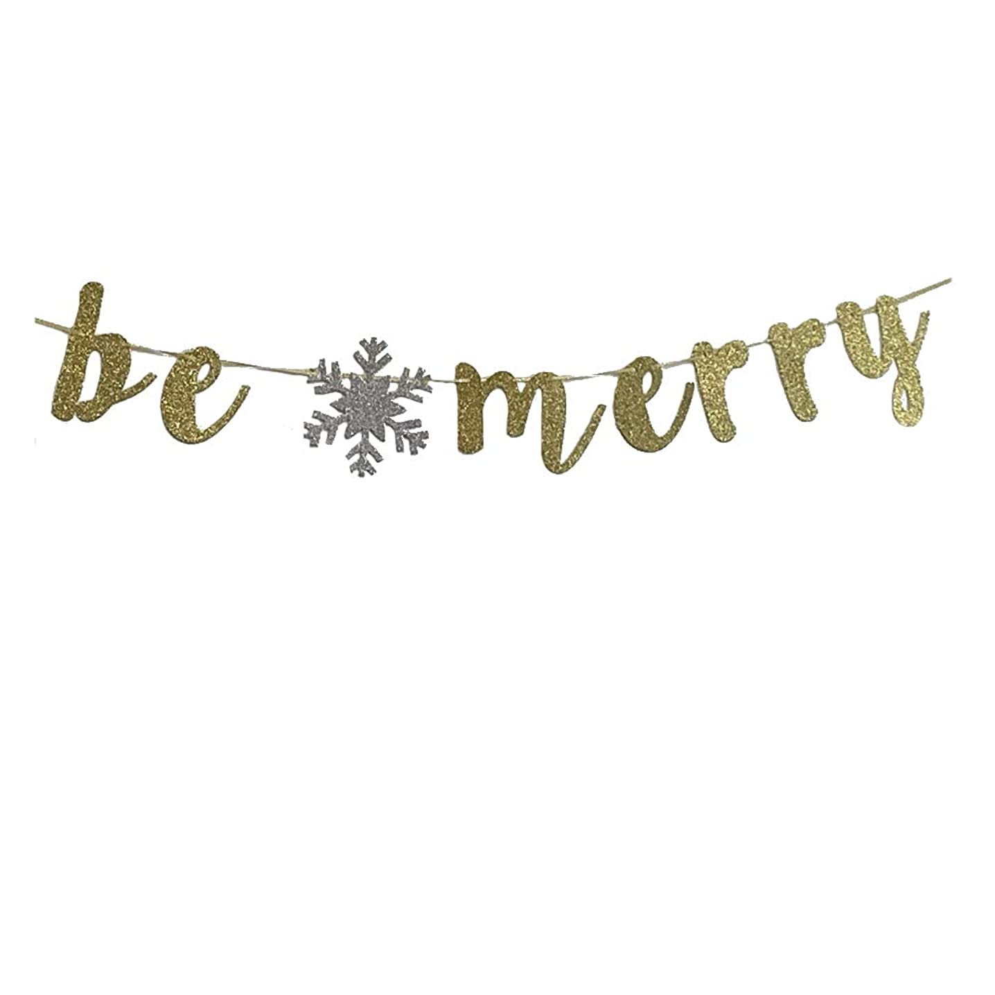 MAGQOO Be Merry Banner Gold Glitter Merry Christmas Sign Party Props Bunting