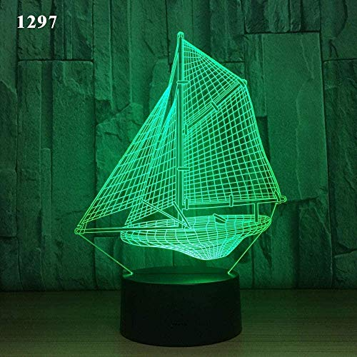 Festival 3D Illusion Lamp Led Night Light Sailing Boat Sailing Boat Underwater Design Acrylic Laser 7 Colors Kids Friends Gift Toys