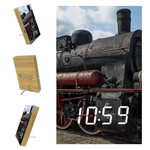 nakw88 Retro Old Train Eisenbahn Schlafzimmer Wecker Nachttisch Digital Wecker LED Wecker mit USB Port zum Aufladen, Büro & Zuhause Dekoration Uhr
