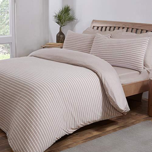 Sleepdown Juego de Funda de edredón Reversible con Funda de Almohada para Cama Individual (135 x 200 cm), diseño de Rayas, Color Beige y Blanco