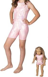 Delicate Illusions Girls Tank Unitard Sleeveless Biketard for Gymnastics Matching 18 inch Doll Leotard (Doll not Included)