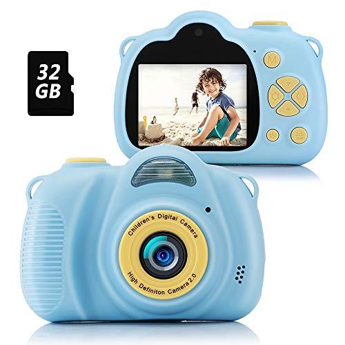 Fede Cámara Fotos Infantil Cámara Digital para Niños, Juguetes Regalos para Niños o Niñas de 3 a 12 Años, Pantalla HD de 2 Pulgadas 12MP 1080P Tarjeta de 32GB TF Azul