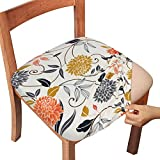 Gute Chair Seat Covers, Stretch Printed Chair Covers with Elastic Ties and Button, Removable Washable Dining Upholstered Chair Protector Seat Cushion Slipcovers for Dining Room, Office(Flower, Pack-4)