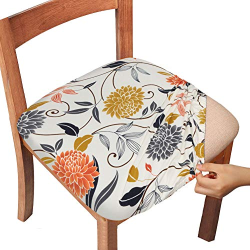 Gute Stretch Printed Chair Seat Covers with Elastic Ties and Button, Removable Washable Dining Upholstered Chair Protector Seat Cushion Slipcovers for Dining Room, Office (Flower, Pack-6)