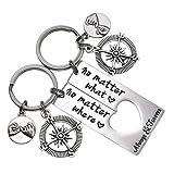 No Matter What No Matter Where Keychain Best Friend Long Distance Friendship Relationship Gift Polished Finish Set of 2 (no matter what no matter where keychain)