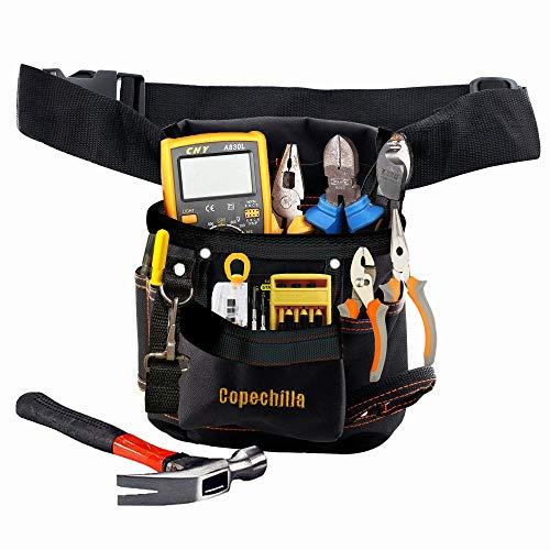 Copechilla werkzeugtasche schwarz mit einstellbar gürtel,Verschleißfest und professionell,Oxford Canvas Material verdickt,für Elektriker, Techniker