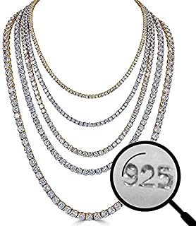 Real Solid 925 Silver Men's Tennis Chain - 14k Gold Plated Or Natural Silver - 16-30