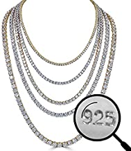 """Harlembling Real Solid 925 Silver Men's Tennis Chain - 14k Gold Plated Or Natural Silver - 16-30"""" - 3mm 4mm 5mm 6mm - Iced Hip Hop CZ Men's One Row Chain"""