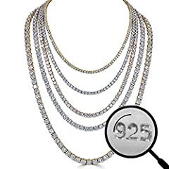 Solid 925 Silver Tennis Chain. Not Plated Or Filled. Its Solid Sterling Silver 👍 3mm 4mm 5mm 6mm Cz Stones Give An Icy Chain Like Rappers Wear Without Spending Thousands On Diamonds Heavy & Solid Chain Ranges From 58-150 Grams Depending On Size And L...
