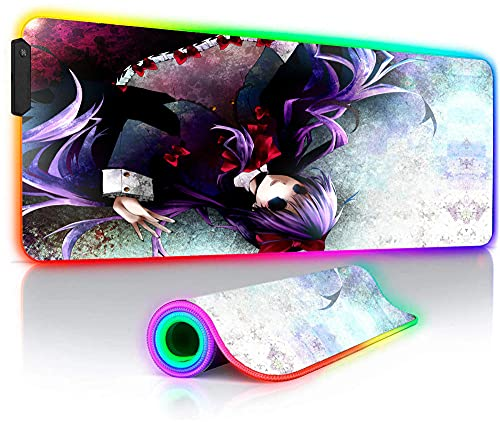 Overlord Girls RGB Gaming Mouse Pads Large Glowing LED XXL Anime Keyboard Desk Mat for Gamer PC Dota 2 35.4x15.7_inches