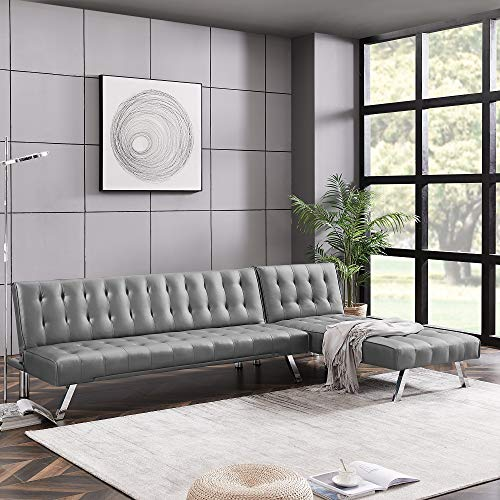 Modern Faux Leather Convertible Sleeper Sofa Bed, L-Shaped Sectional Sofa Couch Chaise Lounge with Metal Legs (Gray)