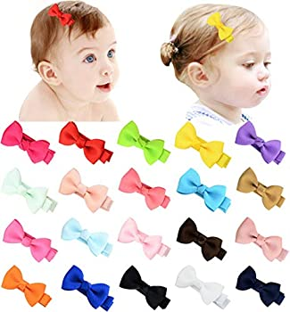 2 Inch Tiny baby Hair Bows Clips Fully Lined for Baby Girls Fine Hair Infants Babies MiniHairClipsBow for Toddlers Kids 20pcs