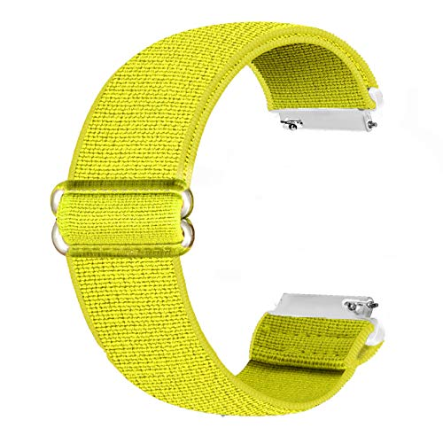 Cinturino di ricambio elastico Ecogbd 20mm compatibile con Galaxy Watch Active / Active2 40mm 44mm / Garmin Vivoactive3, cinturini in nylon tessuto morbido per donna uomo (giallo)