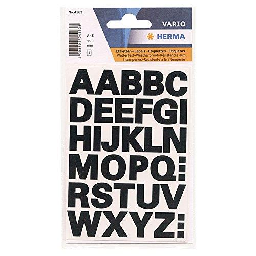 HERMA 4163 Buchstaben-Sticker A-Z, wetterfest, Inhalt: 1 Blatt à 36 Sticker, Folie schwarz, 15 mm hoch