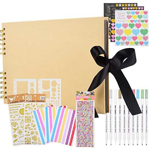 Album fotografico da 80 pagine, fai da te, fai da te, fai da te, creativo, kit di accessori per album fotografici, per anniversari, matrimoni, viaggi, baby shower, San Valentino, marrone