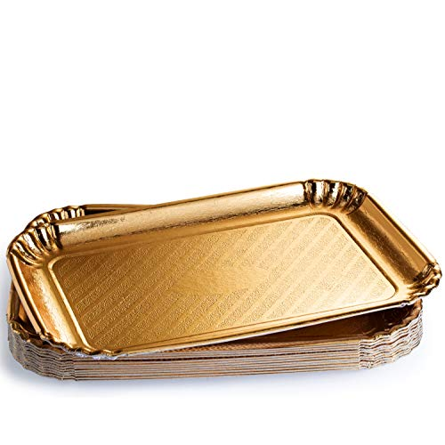 ChefCity 12 Pack Gold Serving Trays, Disposable Rectangle Cookie Tray Sturdy Paper Cardboard. Serving Platters for Dessert Food Safe, Non Toxic. Great for Birthday Party, Wedding, 9 x 13