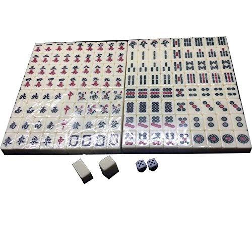 Linjolly Excelente Textura Mahjong Set Gathering Party Juego Juego Tradicional para el Entretenimiento de Viaje Mini Mahjong (Color : White, Size : One Size)