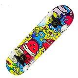 Asdfax Skateboard débutant Monopatín Completo para Principiantes de 31 'x 8', 7 Capas, monopatín de Madera de Arce con Tabla de Skate ABEC-7-segundo
