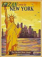 ERZANメタルポスター壁画ショップ看板ショップ看板ニューヨークの自由の女神レトロトラベルに来てくださいインテリア 看板20x30cm