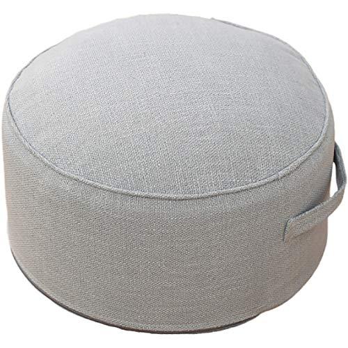 QSCV Desmontable Caja De Lino Cojín De Suelo Otomano,Suave Redondo Escabels Tatami Cojines,Salon Dormitorio Acolchado Grueso Muebles Pequeños-Azul Claro 17.3'x8.6'