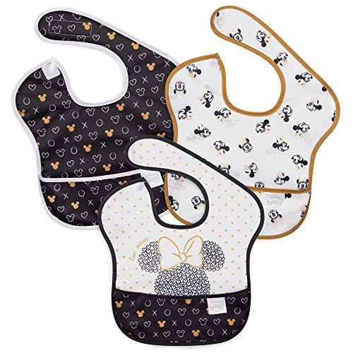 Bumkins SuperBib, Disney Baby Bib, Waterproof, Washable, Stain and Odor Resistant, 6-24 Months, 3-Pack – Love, Minnie