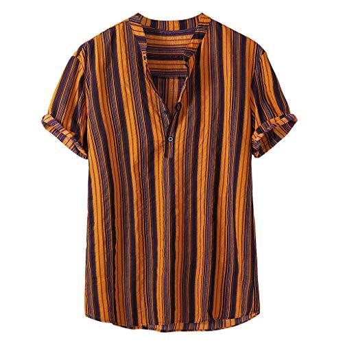 Camicie Moda Manica Corta Casual Slim Fit a Righe Verticali Button Down Stand Collare Strip Print Top Mens (3XL,7- Giallo)