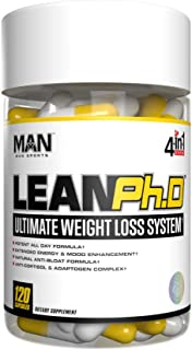 Man Sports Lean Ph.D. Bloating Relief and Weight Loss Supplement. Cortisol Support Supplement with Long-Lasting Mood Enhancement Formula.