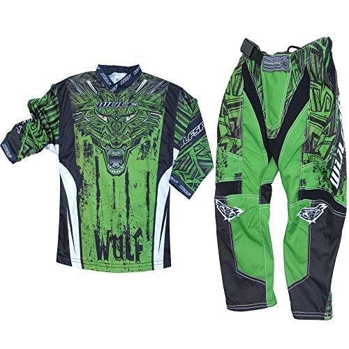 Motorradanz?ge WULFSPORT FORTE 2020 Kinder Motorradkombi Motocross-Rennkleidung Hose Jersey Anzug f?r MX Gokart Quad Scooter Sportkleidung, Zweiteilige Kombinationen (Grun,5 bis 7 Jahre)