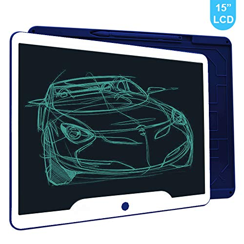 Richgv 15 Zoll LCD Writing Tablet mit Anti-Clearance Funktion und Stift, Digital Ewriter Grafiktabletts Schreibtafel Papierlos Notepad Doodle Board (Blau)