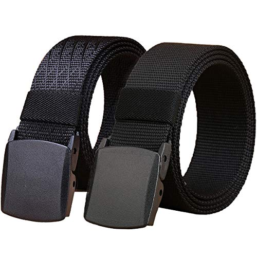 "WYuZe 2 Pack Plus Size 50-62"" Nylon Belt Outdoor Military Web Belt 1.5"" Men Tactical Webbing Belt (waist-below 62"", black ab)"