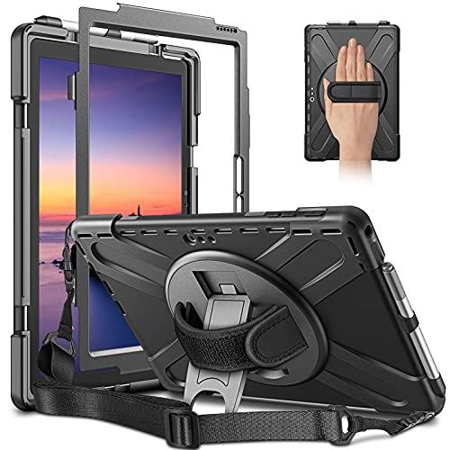 CaseBot Funda para Surface Pro 7 / Pro 6 / Pro 5, [soporte giratorio 360°] resistente a los golpes, correa de mano (no compatible con tipo Cover), color negro