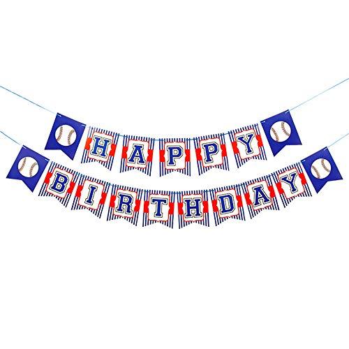 CupaPlay Baseball Party Supplies - Baseball Happy Birthday Banner - Baseball Sport Themed Party Tea Party Birthday Wall Decoration