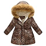 Zhen+ Unisex Baby Kinder Winter Mantel Daunenmantel für 2-7 Jahre Jungen Mädchen Kinder Outdoor Jacke mit Kapuzen Leopard Druck Mantel Warme Coat Windjacke Winterjacke Verdicken Mantel