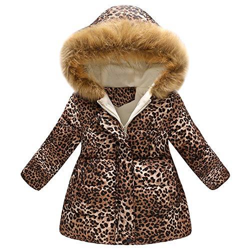 XXYsm XXYsm Kinder Mädchen Mantel Winter Jacke mit Kapuze Leopard Druck Winddichte Warm Khaki 110/2-3 Jahre