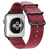 AIGENIU コンパチブル Apple Watch バンド、防水性と耐久性のある編みナイロン バンド Compatible forアップルウォッチ バンド 38mm 40mm iwatch Serise 5/4/3/2/1に対応 (38mm/40mm, ワインレッド)