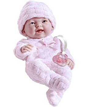"Mini La Newborn Boutique - Realistic 9.5"" Anatomically Correct Real Girl Baby Doll dressed in PINK – All Vinyl Designed by Berenguer"