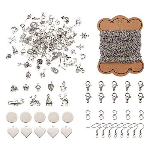 Cheriswelry 160 abalorios para hacer joyas con cadena de cable de 10 m, 40 cierres de pinza de langosta, 400 anillos de salto, 40 ganchos para pendientes.