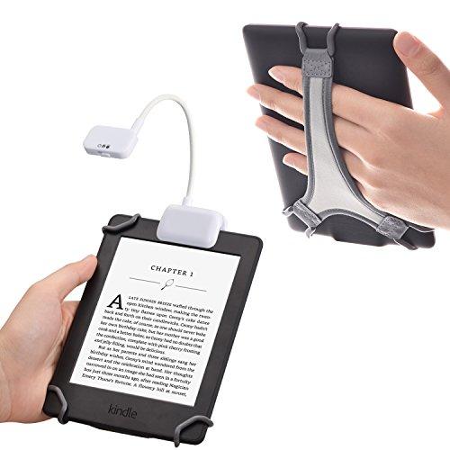 TFY Luce al LED da Lettura con Clip con 2 Livelli di Intensità Lumen per Kindle, Altri e-Readers, Tablets e Libri Dotata di Cinturino per Kindle e e-readers da 6 Pollici - Bianco