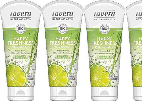 Lavera Duschgel Happy Freshness, Bio-Limette & Bio-Zitronengras, erfrischend, 4 x 200ml