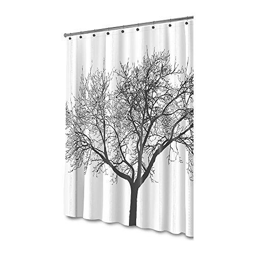 Akelizeng Pscr C001 Duschvorhang mit Baum-Design, 100prozent wasserdicht und umweltfre&lich, groß, Polyester, silberfarben, 1 Stück