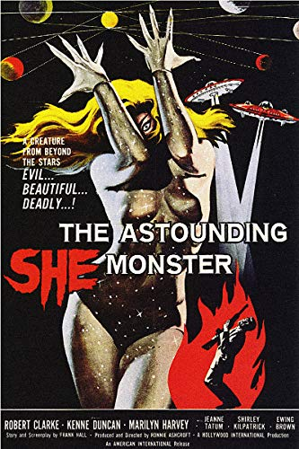American Gift Services - Vintage Science Fiction Horror Movie Poster The Astounding She Monster - 18x24