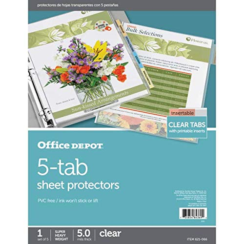 Price comparison product image Office Depot Tabbed Sheet Protectors,  5-Tab,  Clear,  AVE74160