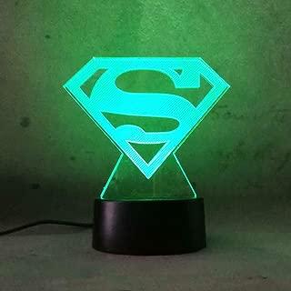 3D Visual LED Night Light for Kid Superhero DC Comic Superman Logo 7 Color Change Remote Control USB Base Battery Powered Christmas Gift