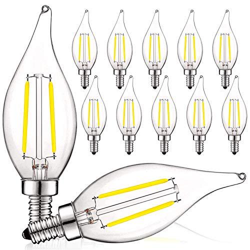 Luxrite - Bombillas LED para candelabro de 4 W, regulable, 400 lúmenes, 5000 K, color blanco brillante, equivalente a 40 W, cristal transparente llama, bombilla LED de filamento de vela con certificación UL, base E12 (paquete de 12)
