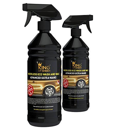 King of Sheen, Advanced Ultra Nano, Waschen ohne Wasser Autowäsche mit Autowachs Carnauba und Nano Polymers. Sprühwachs, wasserlose Autowäsche. 2 x 1000ml