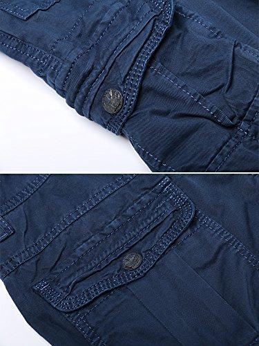 OCHENTA Men's Cotton Washed Multi Pockets Military Cargo Pant #3380 Sapphire Blue 36