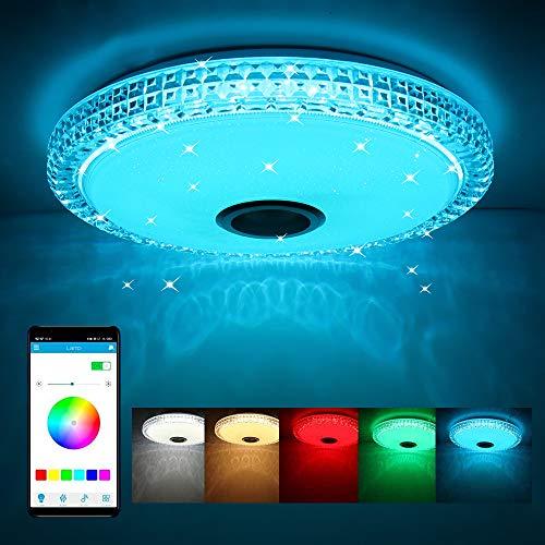 AEUWIER Luz de techo musical de 72 W,lámpara de techo de 16 pulgadas con altavoz Bluetooth y control remoto de la aplicación,luz de techo colgante regulable de 85-265V,luz RGB para fiestas en