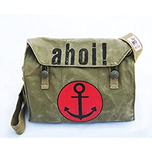 Ahoi ! Recycling Tasche, oliv mit Anker