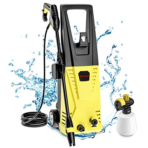 Rrtizan Pressure Washer, 1600 MAX PSI 1.76 GPM Electric Pressure Washer 1500W Cleaner Machine with Adjustable Nozzle, Spray Gun, Hoses, Detergent Tank, for Cleaning Cars, Driveways, Patios