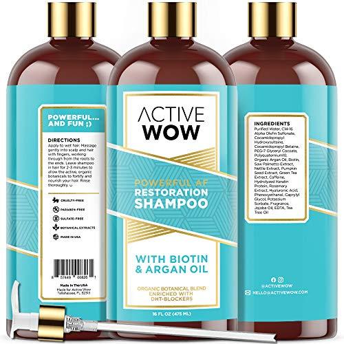 Active Wow Hair Growth Shampoo - DHT Blockers with Argan Oil & Organic...